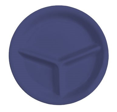Yanco MS-710BU Mile Stone Three Compartment Plate, 10.25'' Diameter, Melamine, Bule Color, Pack of 24 by Yanco