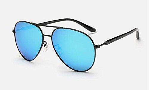 polarisées vintage Glacier rond lunettes inspirées de style Bleu cercle retro soleil du Lennon métallique en ZwAqwE70