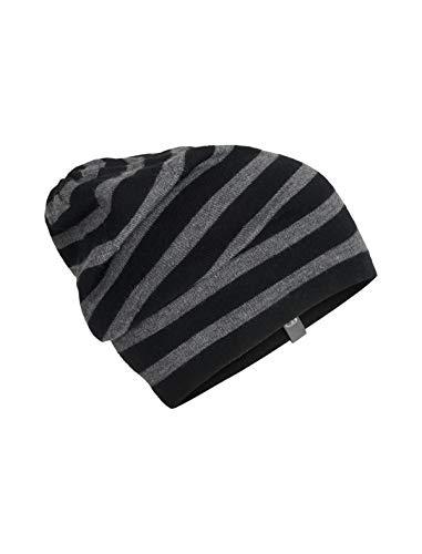 Single Stripe Beanie - Icebreaker Merino Stripe Slouch Beanie Cold Weather Hats, One Size, Black