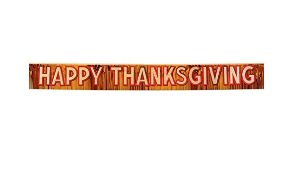 1//Pkg orange w//gold gltrd red ltrs Party Accessory 1 count Metallic Happy Thanksgiving Banner