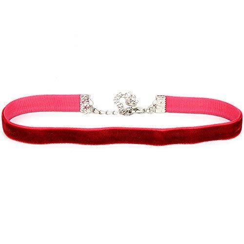 Plain Velvet Choker Necklace (Dark Red, Small) ()