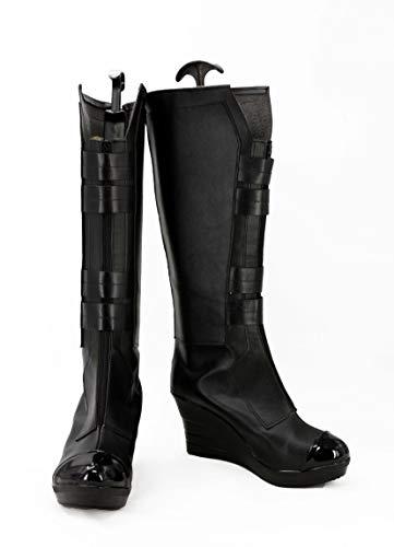 GOTEDDY Widow Natasha Boots Halloween Cosplay Black Knee High Shoes for Women]()