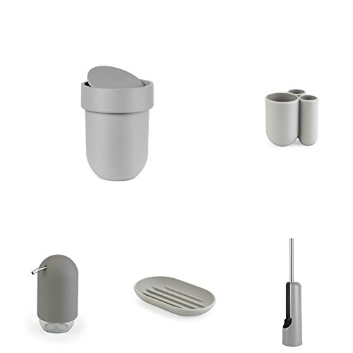 Umbra Toilet Brush - Umbra Touch Bathroom Accessory Collection, Set of 5 pieces - Waste Can, Toothbrush Holder, Toilet Brush, Soap Dish, Soap/Lotion Pump, Grey