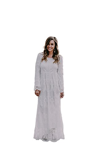 The Lily Lace Gown In Pearl - Temple Length