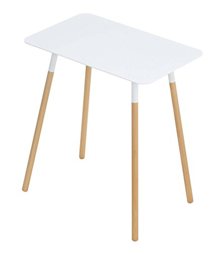 Red Co. Mid-Century Modern Minimalistic Rectangular Side Table, Wood & Steel, White Top Finish, 20-inch