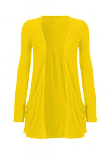 Hot Hanger Ladies Plus Size Pocket Long Sleeve Cardigan 16-26 (16-18 LXL, Yellow)