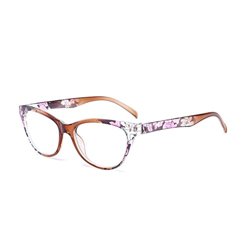 chuwa Reading Glasses Women Cat Eye Glasses Vintage Reader Fashion Flower Print Blue Light Blocking Eyeglasses +1.0-+4.0 ()