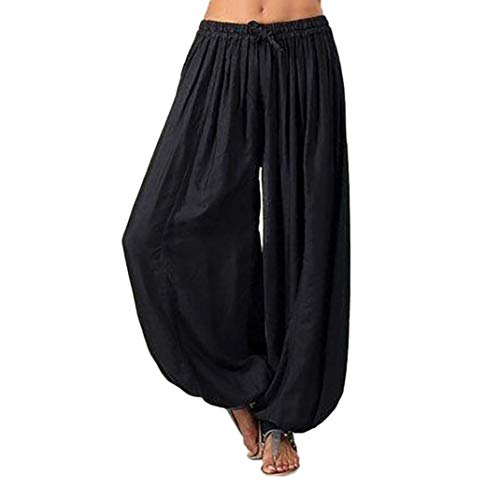 (Women Pants Wintialy Women Plus Size Solid Color Casual Loose Harem Pants Yoga Pants Women Trousers Black)