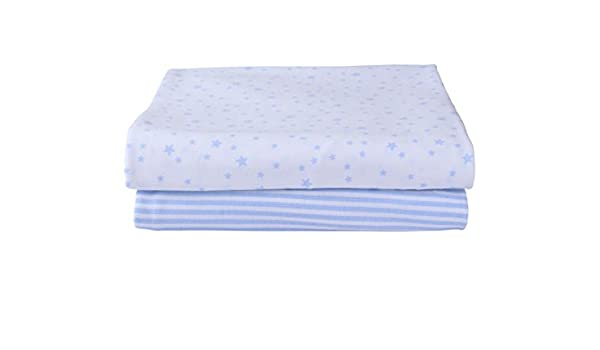 Clair de Lune Cot Bed Cotton Jersey Fitted Sheets Pack of 2, Blue