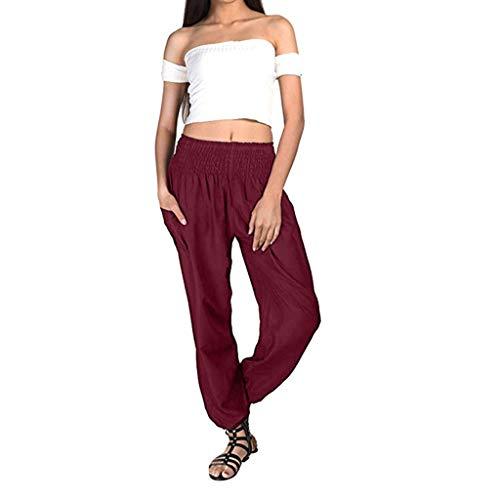 AOJIAN Yoga Pants Buttery Soft Loose Bohemian Jogger Capri Workout Running Sports Leggings for Women Wine -