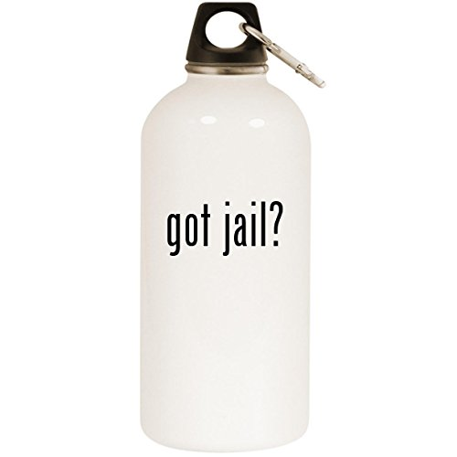 got jail? - White 20oz Stainless Steel Water Bottle with Carabiner