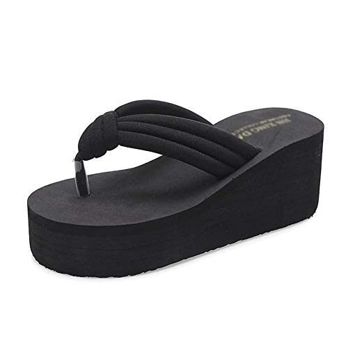 F-OXMY Women's Beach Wedge Platform Flip Flops Summer Non-Slip Thick Bottom Sandals Slippers Black