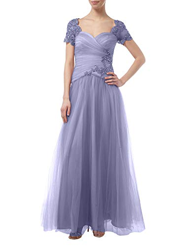 A Tuell Lawender La Braut Rock Festlich Marie Prinzess Festlichkleider Kurzarm mit Spitze Brautmutterkleider Linie Rosa Z4UPpnZ
