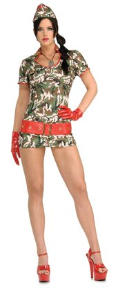 [Secret Wishes Women's Cute Recruit Adult Costume with Holographic Sequins, Multicolor, Medium] (Cute Army Girl Halloween Costumes)
