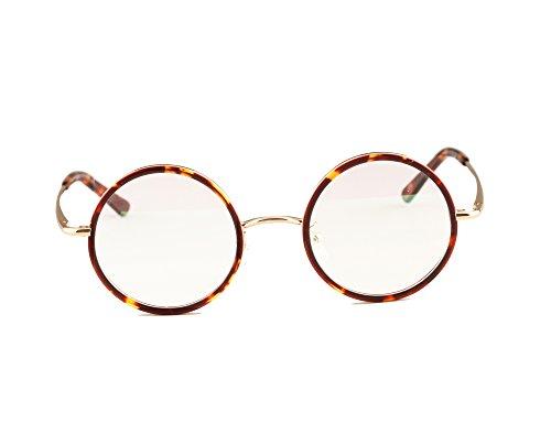 Agstum Vintage Retro Small Round Prescription Optical Eyeglass Frame 43mm (Amber+Light gold, 43mm)