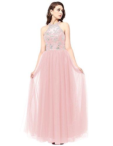 Dresstells®Mujer Vestido Largo Halter Tul Con Cuentas Fiesta Noche Boda Rosa