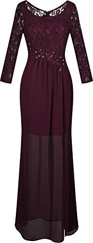 Angel-fashions Women's Scoop Neck Lace Long Sleeve Transparent Column Dress Medium