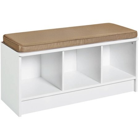 3-Cube Bench in White Mocha Cushion Top Shelf Provides Seating 3 Cube-Shaped Storage Compartments by AVA Furniture