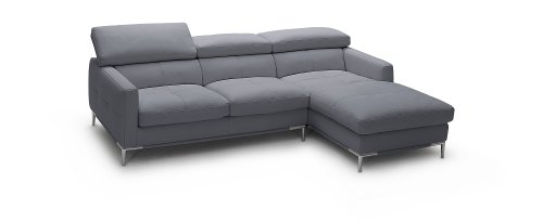 J&M Furniture 1281b Grey Colored Italian Leather Sectional Sofa With Adjustable Headrests – Right Arm Facing