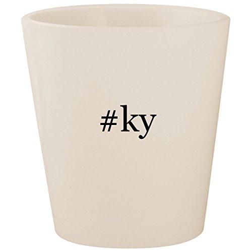 #ky - White Hashtag Ceramic 1.5oz Shot Glass