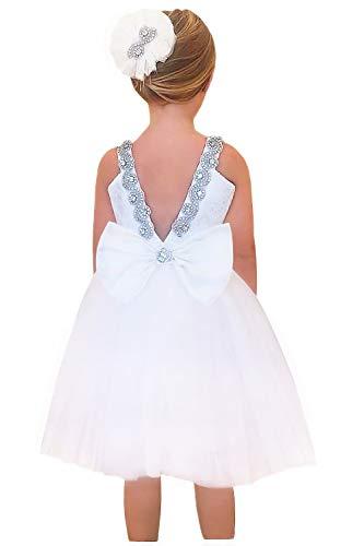 - 2Bunnies Girl Rhinestone Satin Bow Tulle Party Birthday Flower Girl Dresses (White Knee, 3T)