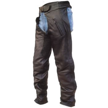 Unisex Drum Dyed NAKED COWHIDE Leather Motorcycle Chaps w two zipper pockets elastic waist n thighs