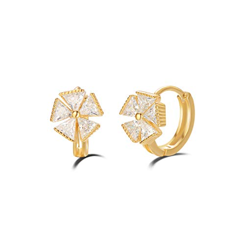 (Carleen Yellow Gold Plated 925 Sterling Silver White Cubic Zirconia CZ Flower Huggie Hoop Earrings For Women Girls, 10mm)