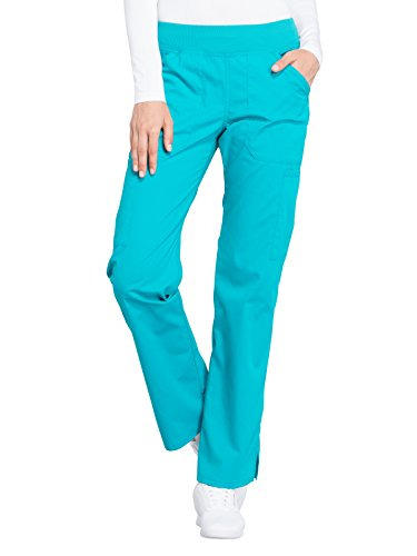 (Cherokee WW Professionals WW170 Mid Rise Straight Leg Pull-On Pant Turquoise L)