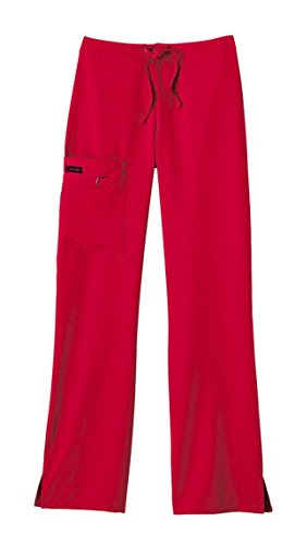 Jockey ladies front tied zipper scrub pant mid waist fit red, 5x