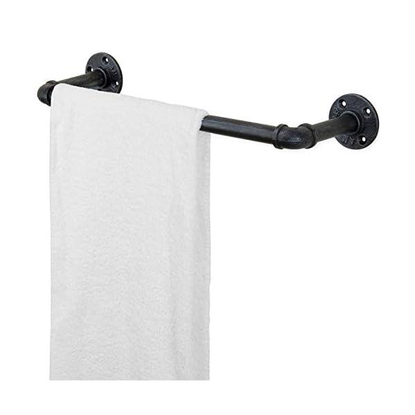 MyGift 20-Inch Wall-Mounted Industrial Steel Gray Metal Pipe Bathroom Hanging Towel Bar 4