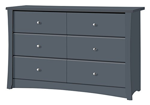 Storkcraft Crescent 6 Drawer Dresser, Grey, Kids Bedroom Dresser with 6 Drawers, Wood and Composite Construction, Ideal for Nursery Toddlers Room Kids Room