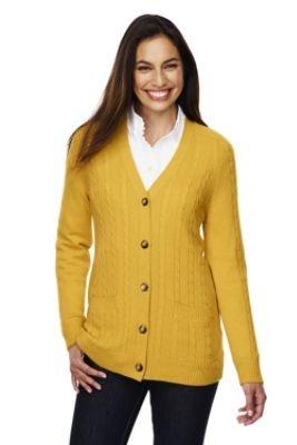 Women's Petite Long Sleeve V-neck Cable Cardigan (UK Size 10 - 12 ...