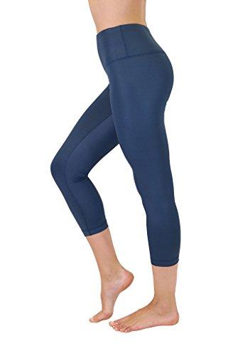 90 Degree By Reflex High Waist Disco Pants - Shiny Hi-Rise Capri Leggings