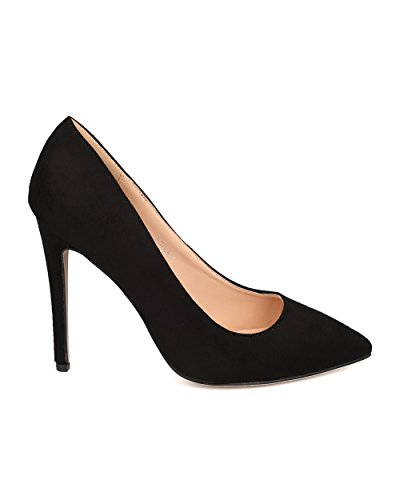 Betani Fe14 Mujeres Faux Suede Pointy Toe Single Sole Stiletto Pump Negro