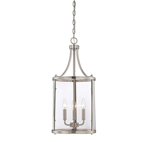 Savoy House 7-1040-3-SN Three Light Foyer (Nickel Lantern Pendant)