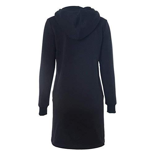 Joven Mujer Sólido Otoño Dress Largos con Bolsillos Cordón Camicia Modernas Hoodie Vestidos Moda Larga Manga Cappuccio Delanteros Schwarz con Color RAqTq
