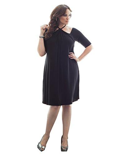 Kiyonna Women's Plus Size Serenade Swing Dress 0X Black Noir