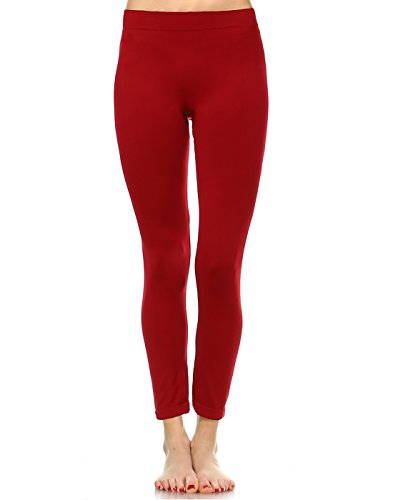 White Mark Women's Premium Full Length Leggings in Burgundy - Plus from White Mark