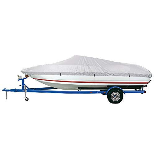 Dallas Manufacturing Co. Reflective Polyester Boat Cover AA - Fits 12'-14' V-Hull Fishing Boats - Beam Width to 68