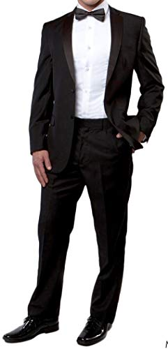 New Mens 5 Piece (5pc) Complete Single Breasted Black Tuxedo Suit 54 Regular -