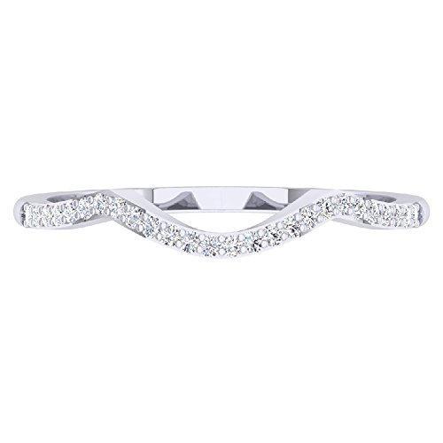 Dazzlingrock Collection 0.12 Carat (ctw) 10K Round Diamond Wedding Stackable Band Contour Guard Ring, White Gold, Size 7 ()