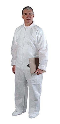 Alpha Protech Coverall - Alpha Pro Tech Critical Cover CV-74032-5 AlphaGuard Coveralls, Elastic Wrist, Ankle and Back, Serged Seams, White, M Size (Case of 25)