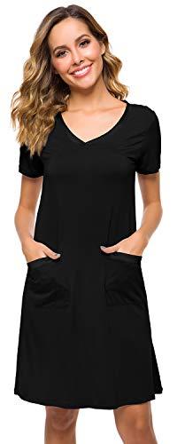 WiWi Womens Nightgowns Bamboo Short Sleeve Sleepwear S-4XL, Black, Large
