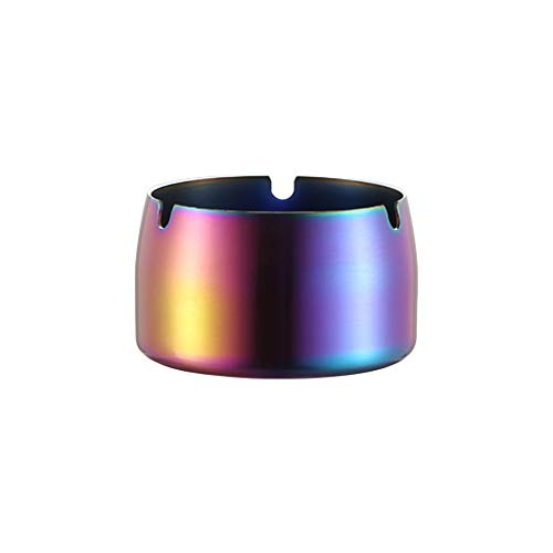 (Maikouhai Stainless Steel High Temperature Resistant Drop Smoke Cigarette Resistant Round Design Ashtray - 7.9x7.9x4.9cm (Multicolor))