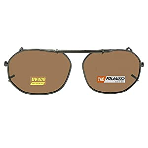 Round Square Polarized Clipon Sunglasses (Pewter-Brown Polarized Lens, 54mm Width x 42mm Height)
