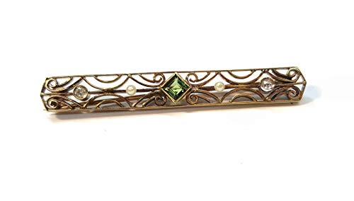 Vintage Pin in 14kt. Yellow Gold. Bezel Set Peridot, Diamonds, and Seed Pearls