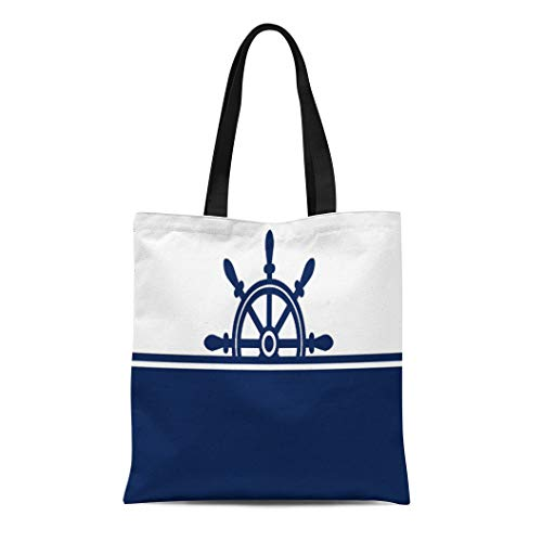 (Semtomn Cotton Line Canvas Tote Bag Blue White Navy Ship Wheel Nautical Sailing Nantucket England Reusable Handbag Shoulder Grocery Shopping Bags)