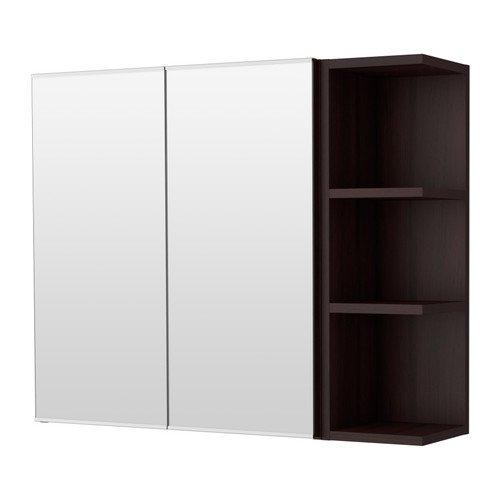 Ikea Mirror cabinet 2 doors/1 end unit, black-brown 31 1/2x8 1/4x25 1/4 -
