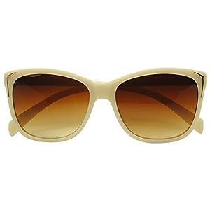 Sexy Beige Round Cat Eyes Fashionable Luxury Sunglasses for Women (Beige , Brown Gradient )
