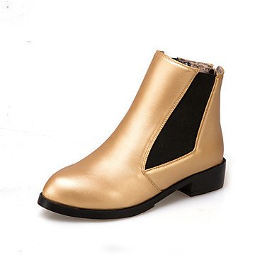 Gll amp; Career Flat Fall Dress Fashion Gold Black amp;xuezi Boots Black Low Women's Heel Leatherette Office Zipper Boots Winter PFPrv